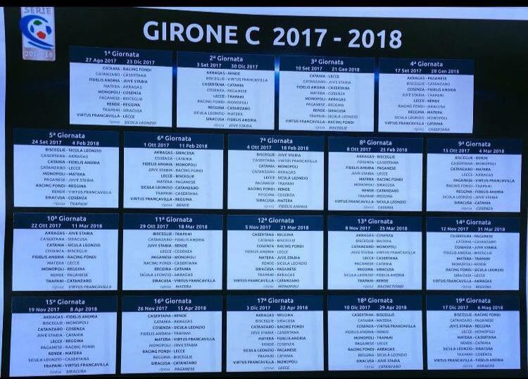 Calendario Serie C Catania.Serie C Ecco Il Calendario Completo Del Catania News Catania